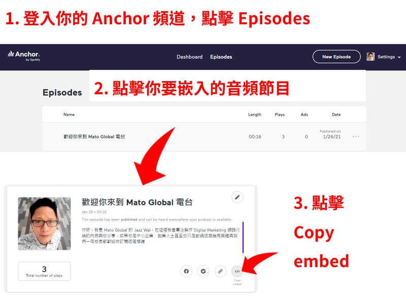 how to get anchor embed code